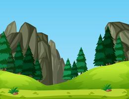 Un paesaggio di natura verde vettore