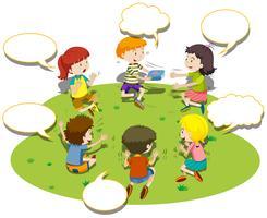I bambini si siedono in cerchio e giocano vettore