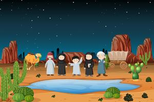 Carovana araba nel deserto vettore
