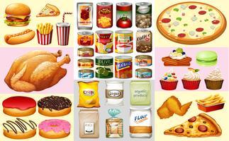 Diversi tipi di cibo in scatola e dessert vettore