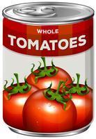 Una lattina di pomodori interi vettore