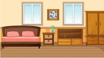 interior design della camera da letto con mobili vettore