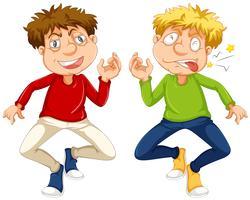 Uomini che hanno mal di denti su fondo bianco vettore