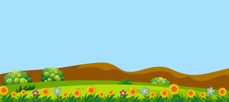 Un bellissimo paesaggio di colline di fiori vettore