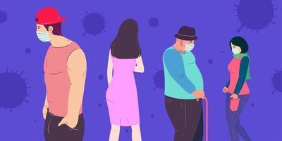 un gruppo di persone che adottano il distanziamento sociale per prevenire il virus corona vettore