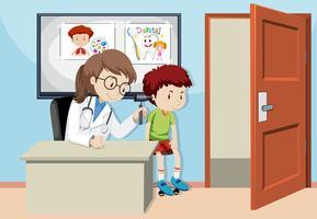 Un bambino che controlla l'orecchio con il dottore vettore