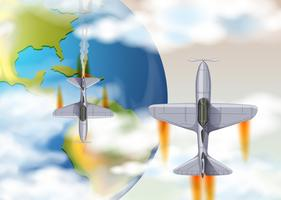 Aeroplano sopra la vista superiore della terra