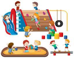 Gruppo di persone bambini al parco giochi vettore