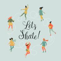 Illustrazione vettoriale di donne skate. Stile retrò alla moda.