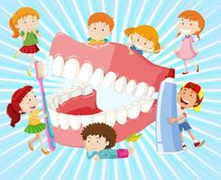 I bambini con i denti puliti vettore