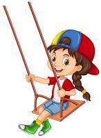 Un personaggio di ragazza che si siede sull'oscillazione di legno