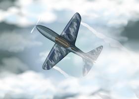Jet militare che vola nel cielo vettore