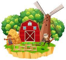 Scena dell'azienda agricola con il coltivatore che pianta le verdure