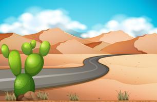 Viaggio su strada nel deserto vettore