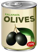 Una lattina di olive Kalamata