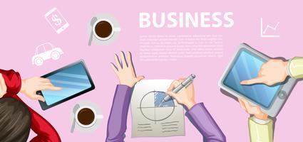 Infografica con uomini d'affari di lavoro