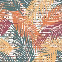 Modello esotico senza cuciture con foglie di palma su sfondo etnico.