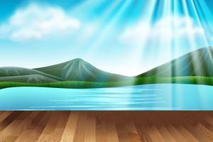 Scena di sfondo con lago e montagne