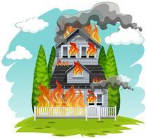 Una casa in fiamme vettore