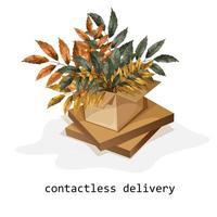 scatola di cartone ondulato con rametti di una pianta con un'iscrizione vettore