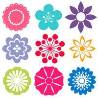 Set di fiori colorati vettore
