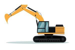 disegno vettoriale di escavatore a cingoli. macchinario pesante