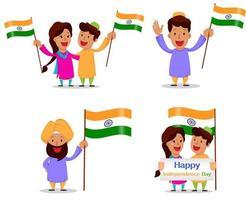 giorno dell'indipendenza in india. biglietto di auguri con simpatici personaggi dei cartoni animati vettore