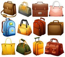 Collezione di borse diverse vettore