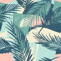 Modello esotico senza cuciture con piante tropicali e sfondo artistico. vettore