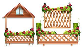 Design recinzione con rose e cespuglio vettore