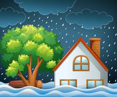 Scena di disastro naturale di inondazioni vettore