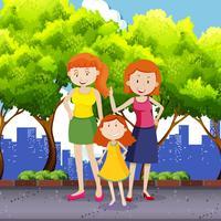 Famiglia di adozione LGBT al parco
