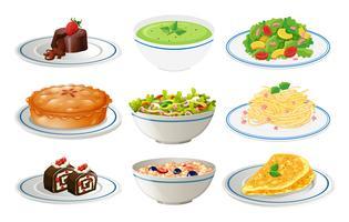 Diversi tipi di cibo su piatti bianchi vettore