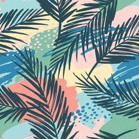 Modello esotico senza cuciture con piante tropicali e sfondo artistico.