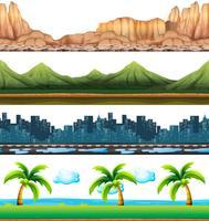 Quattro scene di città e natura vettore