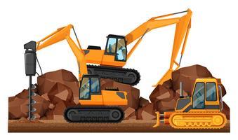Veicoli da costruzione che lavorano nel sito vettore