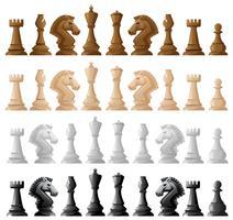 Quattro serie di pezzi degli scacchi
