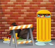 Scena con rifiuti sporchi sul pavimento