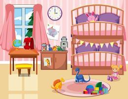 Uno sfondo di camera da letto per bambini vettore