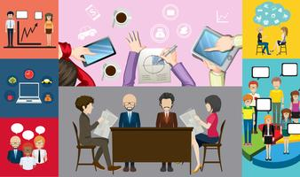 Progettazione infografica per uomini d'affari che lavorano