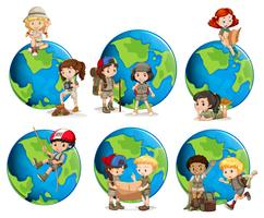 Set di bambini e globi