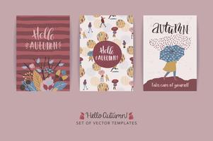 Set di carte autunnali creativi artistici. Trame disegnate a mano e scritte a pennello.