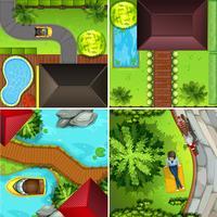 Scene aeree con casa e parco