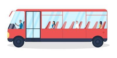 autobus con passeggeri oggetto vettoriale di colore semi piatto