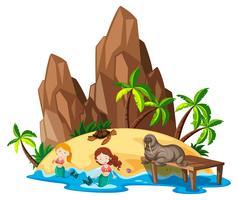 Scena con sirena e animali marini