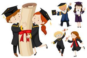 Persone in abito di laurea vettore