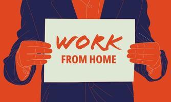 illustrazione di una campagna per lavorare a casa per prevenire la diffusione del virus. vettore