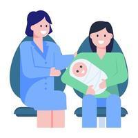 neonato e famiglia vettore