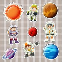 Design adesivo per astronauti e pianeti vettore