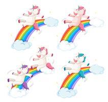 Set di diapositiva di unicorno felice sull'arcobaleno vettore